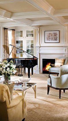 """PLAFOND """"A CAISSON"""" Pretty room.but the piano can't be that close to the fireplace or the windows/outside walls. Home Living Room, Room Design, Piano Living Rooms, Elegant Homes, Living Room Remodel, Trendy Living Rooms, Room Remodeling, Grand Piano Room, Grand Piano Living Room"""