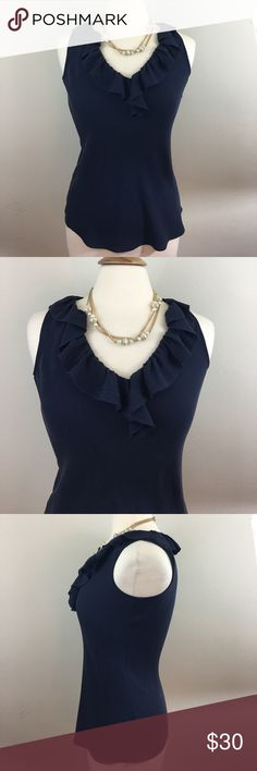 """Tory Burch Navy Ruffled Front Top Navy top has a """"V"""" neck with a ruffled design in the front and around the neck. Measures 16""""inches armpit and 26""""inches long. 100% silk. Dry Clean Tory Burch Tops"""