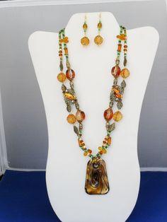 2 strand goldstone Swarovski amber crystals gold by ElmsRealm, $32.00