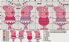 X : Photo Peppa Pig Ballet Cross Stitch Pattern Cross Stitch Borders, Cross Stitch Baby, Cross Stitching, Cross Stitch Embroidery, Cross Stitch Patterns, Molde Peppa Pig, Beading Patterns, Crochet Patterns, Peppa Pig Family