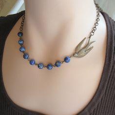 Blue Bird Necklace Gemstone Jewelry     Bluebird    Shabby Chic Cottage Style Mothers Day Outdoor Wedding Garden