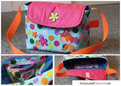 Kindergartentasche / Kita-Tasche mit kleinem Reißverschluss-Innenfach, Umhängegurt und Klett-Verschluss (Nähanleitung und Schnittmuster)