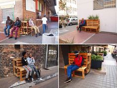 Wooden pallette benches all around Johannesburg streets