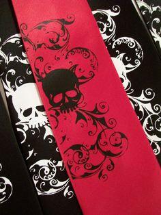 Necktie Red skull tie mens