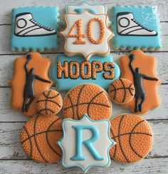 One Dozen Customizable Basketball Birthday Themed Decorated Sugar Cookies Iced Cookies, Cute Cookies, Royal Icing Cookies, Cupcake Cookies, Sugar Cookies, Crazy Cookies, Fondant Cookies, Cake Basketball, Basketball Birthday Parties