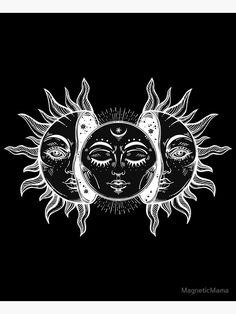'Vintage Sun and Moon Solar Eclipse' Art Print by MagneticMama Witchy Wallpaper, Hippie Wallpaper, Arte Grunge, Hippie Art, Wedding Art, Moon Art, Sun Moon, Cute Tattoos, Aesthetic Art
