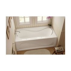 """60"""" x 30"""" White Cocoon Left Hand Soaker Bathtub with Skirt"""