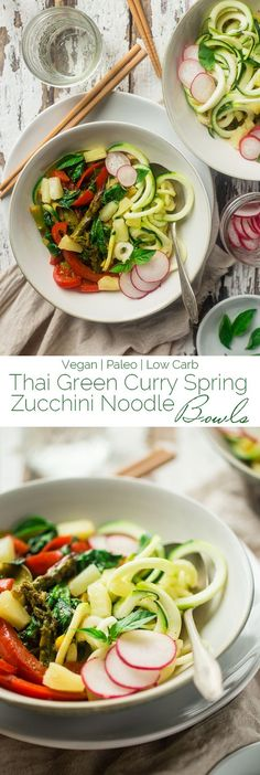 Vegan and Paleo Green Coconut Curry Spring Veggie Bowls with Zucchini Noodles - These easy bowls are made with pineapple, spring veggies, zucchini noodles and a creamy green coconut curry sauce! They're perfect for Meatless Monday and only 250 calories!   Foodfaithfitness.com   @FoodFaithFit