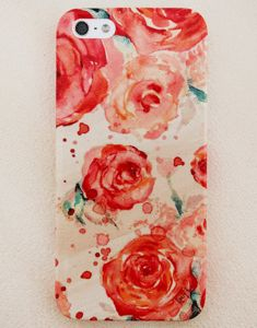 Image of Coral Watercolor Tea Rose iPhone 4/4s, 5/5s and 5c Case