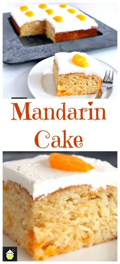 Mandarin Cake - a delicious soft and moist cake with juicy mandarins running throughout. Just Desserts, Delicious Desserts, Yummy Food, Baking Recipes, Cake Recipes, Dessert Recipes, Cupcakes, Cupcake Cakes, Backen Baby