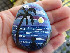 """Time by the sea"" hand painted rock for #BuckleyRocksToo. #PaintedRocks #Ocean #Sea #TakeMeToTheSea"