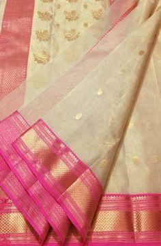 Off White Handloom Chanderi Tissue Silk Saree 7800 price Silk Saree Kanchipuram, Chanderi Silk Saree, Cotton Saree, Kota Silk Saree, Pure Silk Sarees, Off White Saree, Silk Sarees With Price, Kids Dress Wear, Saree Blouse Neck Designs