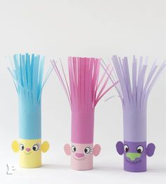 Craft your own Trolls - of tow rolls! - Pysselbolaget - Fun Easy Crafts for Kids and Parents Easy Crafts For Kids, Toddler Crafts, Projects For Kids, Diy For Kids, Kids Crafts, Diy And Crafts, Craft Projects, Arts And Crafts, Craft Activities