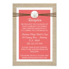 Sand Dollar Beach Wedding Reception- Coral Invite