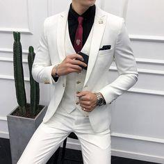 Pink Suits Mens Wedding Dress for Man Red Suits White Trajes De Hombre Purple Suit Slim Fit Male Black Tuxedo Costume Homme 2018 Prom Suits For Men, Mens Casual Suits, Mens Fashion Suits, Mens Suits, White Suits For Men, White Prom Suit, Black And White Suit, White Tux, Groom Suits