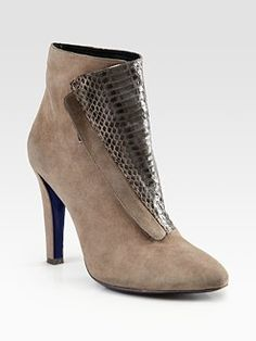 Rebecca Minkoff - Dante Suede and Snake-Print leather Ankle Boots
