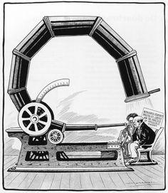 A. Racey, 'Un des plus grands téléscopes au mondes', in 'Montreal Star' (Canada, 1920) Vertaling titel: 'Een van de grootste telescopen ter wereld'. Tekst in tekening: Autocratic stupidity, brutality, greed and the practice of impossible theory'. Vertaling: 'Autocratische domheid, wreedheid, hebzucht en de uitvoering van onmogelijke theorie.'