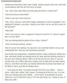 Baby Harry & Remus lupin  The last comment makes me want to cry...