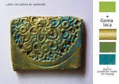 Pequeñeces: Efectos metálicos con pinturas acrílicas Biscuit, Decoupage, Polymer Clay, Mixed Media, Antiques, Artist, Painting, Arabesque, Moldings