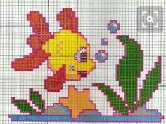 Cross Stitch Sea, Cross Stitch For Kids, Simple Cross Stitch, C2c Crochet, Crochet Quilt, Cross Stitch Embroidery, Cross Stitch Patterns, Stitch Doll, Fish Ornaments