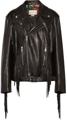 Gucci - Fringed Leather Biker Jacket - Black https://api.shopstyle.com/action/apiVisitRetailer?id=609719066&pid=uid2500-37484350-28