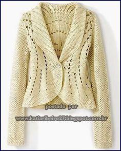 beautiful cream crochet jacket/cardigan with eyelet details Crochet Bolero, Gilet Crochet, Crochet Cardigan Pattern, Knit Or Crochet, Crochet Stitches, Sweater Patterns, Crochet Sweaters, Crochet Patterns, Mode Crochet