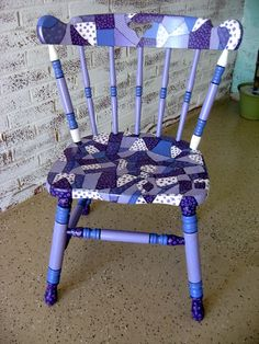 Purple Patchwork Chair by MissEllenJoy on Etsy, $110.00