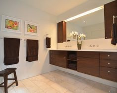 floating vanity combiation of open and cabinets, could live with