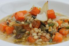 Barley broth, roasted butternut squash and pumpkin seed -   The non-complex carbs in the barley are a good energy source and ideal for weight loss diets