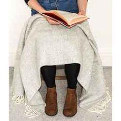 Herringbone wool knee rug - silver grey