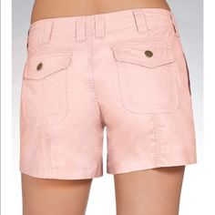 """Boston Proper Pink Cargo Shorts Size 2 These are a cute pair of cargo shorts in pink from Boston Proper.  With a hint of stretch for all day comfort, they have 2 side & 2 back flap pockets.  They are a size 2 and they sit just below the waist.  Wear & pair with casual tees or elevate your look with a sexy charmeuse.  They are made of a cotton/spandex blend & have a 4"""" inseam.  They were worn a few times last summer & are in great condition. Boston Proper Shorts Cargos"""