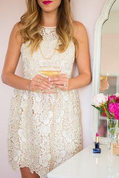 Cream eyelet party dress