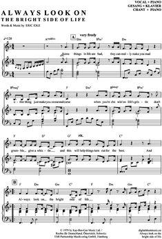Always look on the bright side of life (Klavier + Gesang) Monty Python [PDF Noten] >>> KLICK auf die Noten um Reinzuhören <<< Noten und Playback zum Download für verschiedene Instrumente bei notendownload Blockflöte, Querflöte, Gesang, Keyboard, Klavier, Klarinette, Saxophon, Trompete, Posaune, Violine, Violoncello, E-Bass, und andere ...