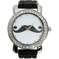Mustache Rubber Watch (€15) found on Polyvore featuring jewelry, watches, accessories, bracelets, bijoux, mustache bracelet, buckle bracelet, buckle watches, mustache jewelry and wristband watches