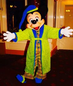 Mickey Mouse in his pajamas