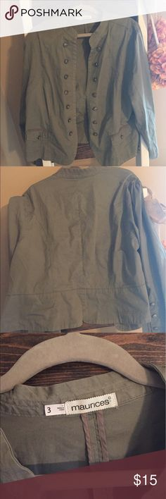 Maurice's military style jacket Super cute light weight jacket . Great detail in the buttons on the front and the sleeves ! Size 3 from Maurice's but this item runs a little small. Maurices Jackets & Coats Utility Jackets