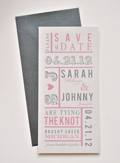 Chloe Wedding Save the Date Pink Charcoal Grey and by lvandy27, $1.75