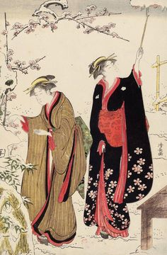Women in Snowy Garden. Ukiyo-e woodblock print, 1786, Japan, by artist Torii Kiyonaga