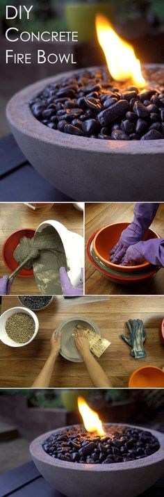 You can DIY your own concrete fire bowl using household items to create the bowl and simple things you can pick up at your local hardware store. Perfect for those cool summer nights outside!  http://www.ehow.com/how_12343856_tabletop-concrete-fire-bowl.html?utm_source=pinterest.com&utm_medium=referral&utm_content=freestyle&utm_campaign=fanpage
