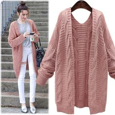 Cable Knit Sweaters, Long Sweaters, Sweaters For Women, Knit Cardigan Pattern, Stylish Winter Outfits, Knitted Coat, Knitwear Fashion, Knit Jacket, Knit Dress