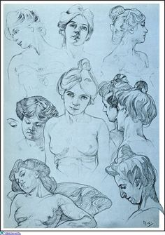 Sketches by Alphonse Mucha/ female/ body/ head reference Mucha Art, Sketches, Art Drawings, Painting, Figure Drawing, Illustration Art, Art, Alfons Mucha, Art Sketches