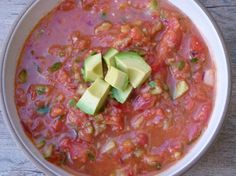gazpacho with avocado recipe -- NO canned tomato juice, all natural ingredients