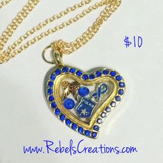 America USA Police Military PMO Floating Charm Necklace - pinned by pin4etsy.com