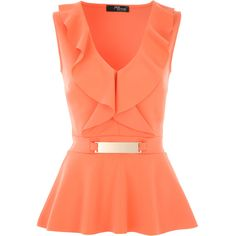 Jane Norman V Front Frill Peplum Top - House of Fraser Red Peplum Tops, Peplum Shirts, Frill Tops, Ruffle Shirt, Peplum Blouse, Ruffle Top, Red Tops, Ruffles, Coral Shirt Outfits