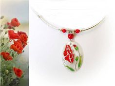Red Poppy Hand-painted Seashell  Necklace with Coral Gem Stone , Floral jewerly