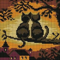 Cross stitch pattern of cats overlooking fall scene: totally free