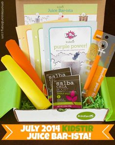 """July 2014 Kidstir (kids cooking subscription box) - themed """"Bar-ista."""" Save $10 on your first box with this coupon! #subscriptionbox #kidstir #coupon"""