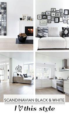 Scandinavisch wonen | sober   de zwarte foto lijstjes met zwart wit foto's en een witte passe partout