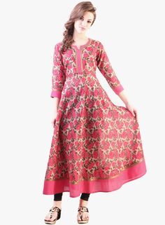 Buy Libas Pink Printed Kurta for Women Online India, Best Prices, Reviews | LI425WA45TPEINDFAS