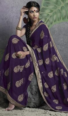 520bb5a92 Purple Faux Georgette Embroidered Party Wear Saree Indian Sarees Online